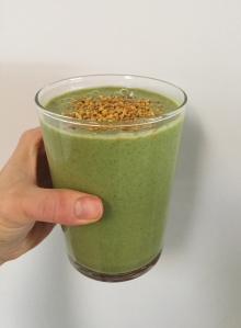 I start my day with a big green smoothie filled with greens, fruit, and super foods. I always top it with hemp seeds!
